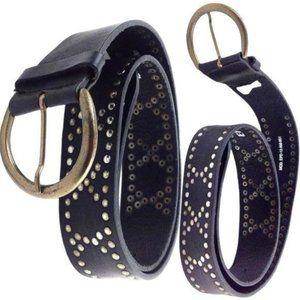 Wide Leather & Brass Studded Belt
